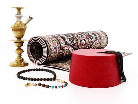 Red fez, carpet, prayer beads and hookah. 3D illustration 写真素材