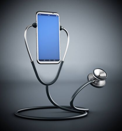 Stethoscope listening to the smartphone. 3D illustration. Stock Photo