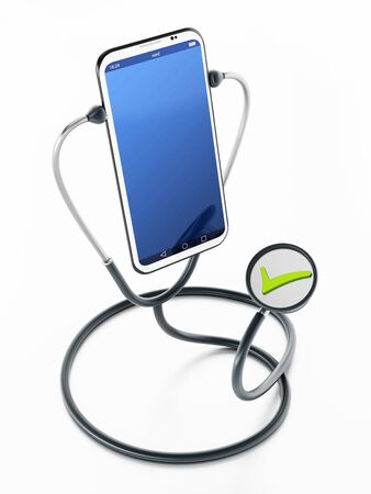 Stethoscope listening to the smartphone. 3D illustration. Stock fotó
