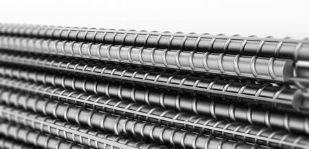 Group of iron construction bars detail. 3D illustration. 스톡 콘텐츠