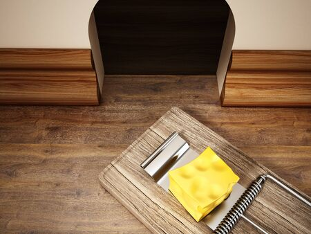Mouse trap with a piece of cheese standing in front of the mouse hole. 3D illustration. Stock Photo