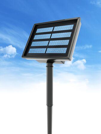 Compact garden solar panel against blue sky. 3D illustration.