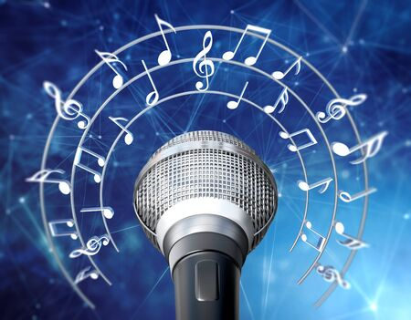 Musical notes and symbols around the microphone. 3D illustration.