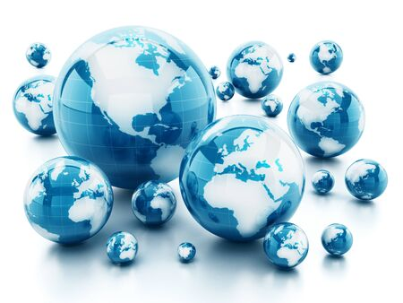 Stack of shiny globes isolated on white background. 3D illustration.