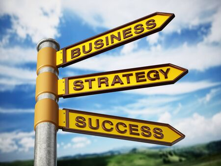 Business, strategy and success signboard against blue sky. 3D illustration. Stok Fotoğraf
