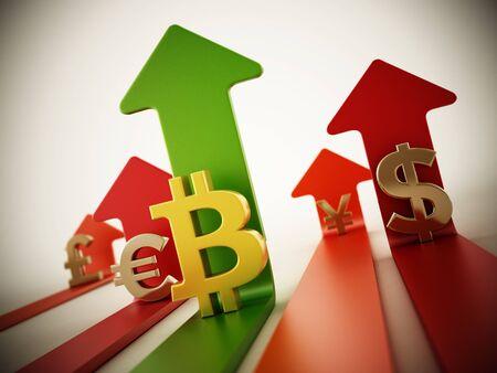 Bitcoin, dollar, euro, yen and pound symbols on rising arrows