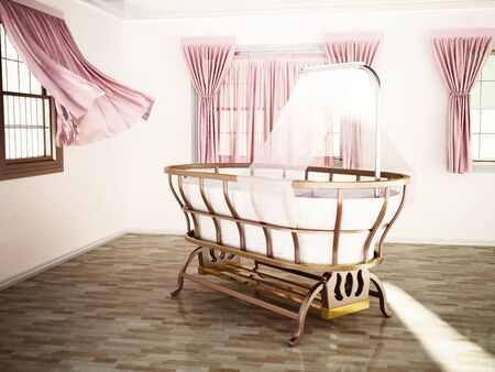 Classic style baby crib standing at the center of the room. 3D illustration. Stock Photo