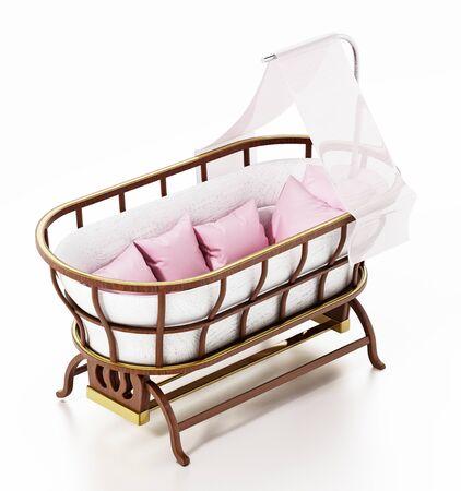 Classic style baby crib isolated on white background. 3D illustration. Stock Photo