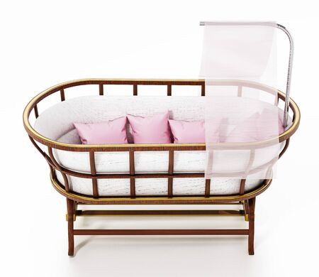 Classic style baby crib isolated on white background. 3D illustration. Stock Photo