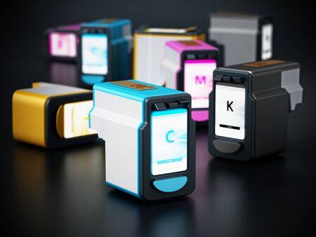 Generic inkjet printer CMYK cartridges. 3D illustration.