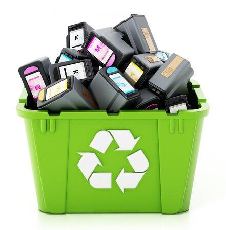 Used inkjet printer cartridges inside green recycle box. 3D illustration. Stock Photo