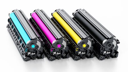 Stack of laser printer CMYK toners. 3D illustration. Фото со стока