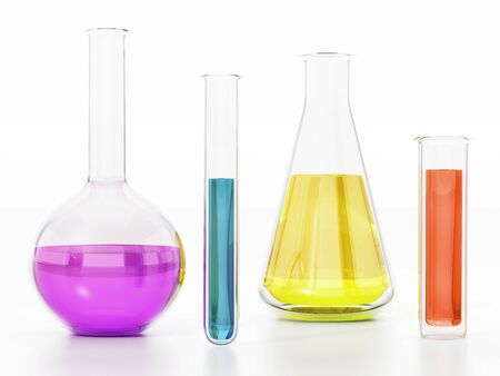 Laboratory tubes with colorful liquids isolated on white background. 3D illustration. Stok Fotoğraf