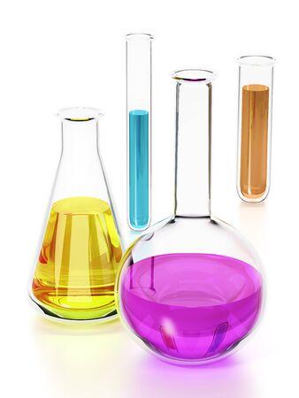 Tubos de laboratorio con líquidos de colores aislados sobre fondo blanco. Ilustración 3D.