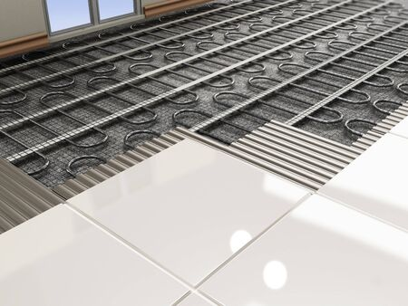 Ground heating system structural detail. 3D illustration.