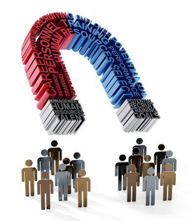 Human resources related keywords forming horseshoe magnet attracts people. 3D illustration. Stock Photo