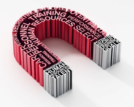 Human resources related keywords forming horseshoe magnet. 3D illustration.