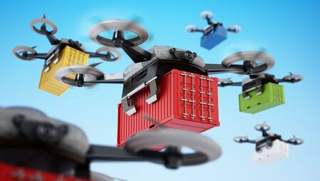 Unmanned drones carrying cargo containers. 3D illustration.
