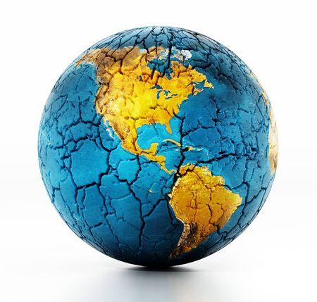 Tierra seca con suelo agrietado aislado sobre fondo blanco. Ilustración 3D.
