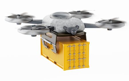 Unmanned drone carrying cargo container. 3D illustration. Stok Fotoğraf