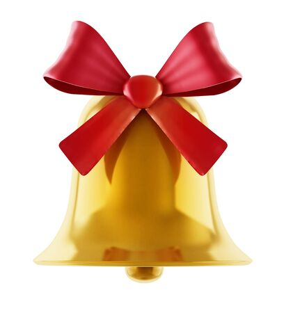 Gold bell with red ribbon isolated on white background. 3D illustration. Stock Photo