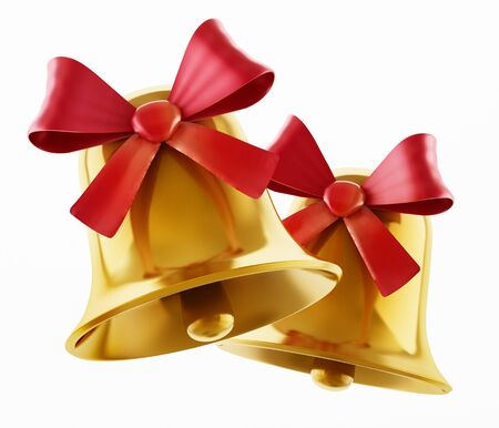 Gold bells with red ribbon isolated on white background. 3D illustration.