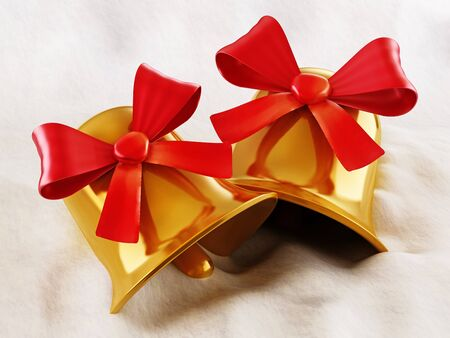 Gold bells with red ribbon standing in snow. 3D illustration. Stock Photo