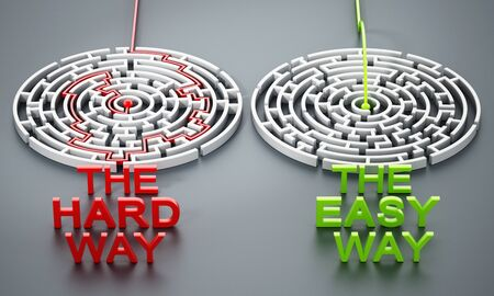 The hard way and the easy way texts in front of round mazes. 3D illustration.