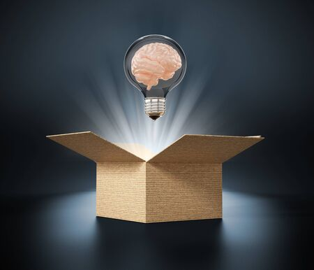 Brain in lightbulb coming out of the box. 3D illustration. Archivio Fotografico
