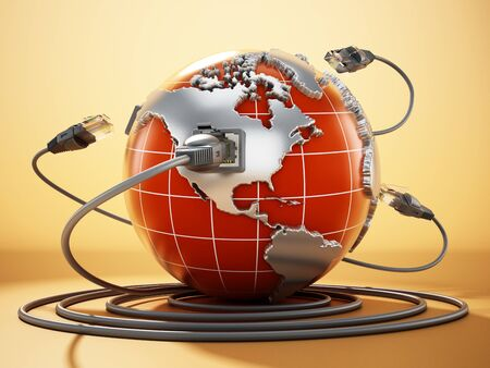 Rj45 plug connected to blue globe with world map. 3D illustration. 写真素材