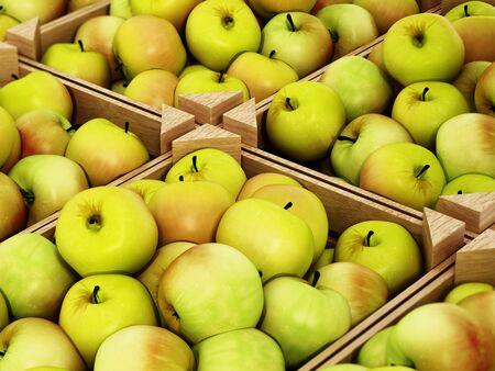 Fresh newly harvested apples inside crates. 3D illustration.