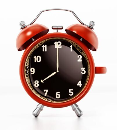 Red alarm clock combined to coffee mug. 3D illustration.