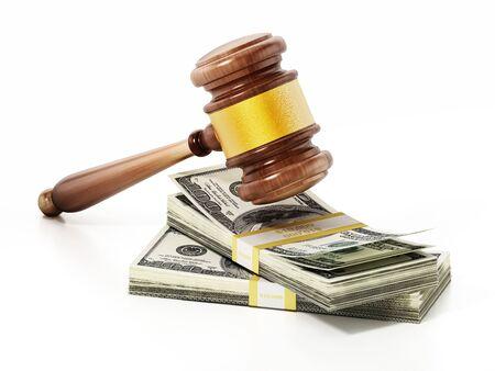 Judge gavel on stacks of dollars. 3D illustration. Фото со стока - 130338655