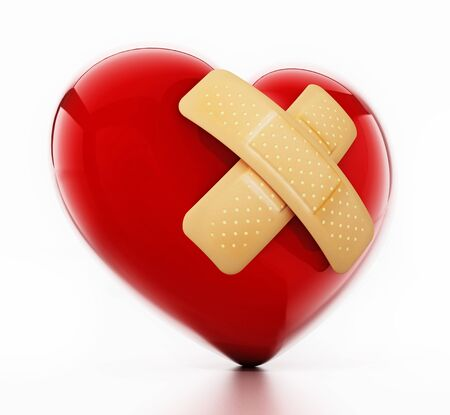 First aid plasters on heart. 3D illustration. Фото со стока