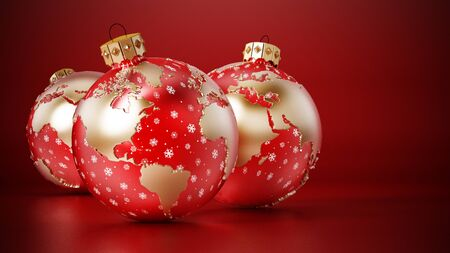 Christmas baubles with earth map on red surface. 3D rendering.