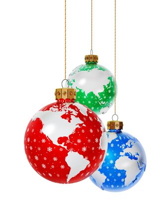 Christmas baubles with earth map isolated on white background. 3D rendering.