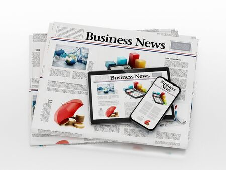 Business newspaper, smartphone and tablet PC isolated on white background. 3D illustration.