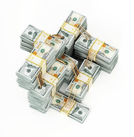 Ladders on arranged dollar bill stacks. 3D illustration.