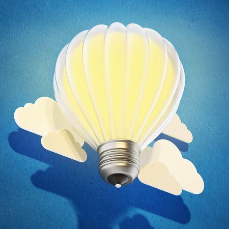 Lightbulb balloon flying among the clouds. 3D illustration. Stock Photo