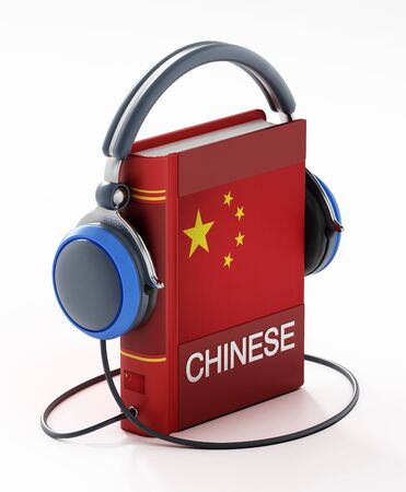 Chinese dictionary with headphones isolated on white background. 3D illustration.
