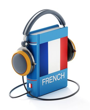 French dictionary with headphones isolated on white background. 3D illustration.
