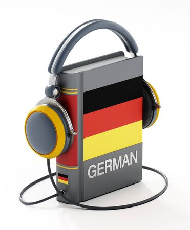 German dictionary with headphones isolated on white background. 3D illustration.