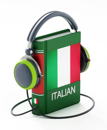 Italian dictionary with headphones isolated on white background. 3D illustration. Banco de Imagens
