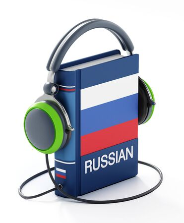 Russian dictionary with headphones isolated on white background. 3D illustration. Banco de Imagens