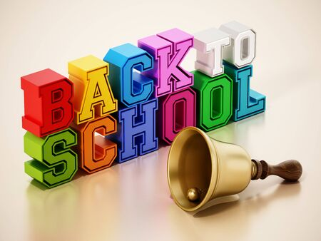 Back to school text and school bell on reflective surface. 3D illustration.