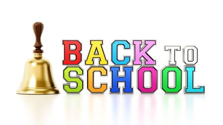 Back to school text and school bell isolated on white background. 3D illustration.