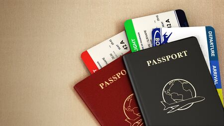 Black and red passports and airplane tickets. 3D illustration.