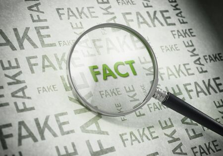 Magnifying glass on green fact text standing out from fake words. 3D illustration.