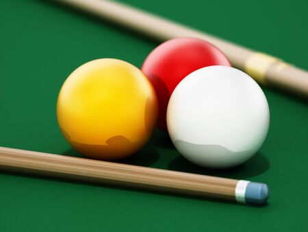 3 cushion billiards table and balls with pool cue. 3D illustration.