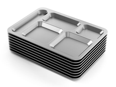Metal table dhote trays isolated on white background. 3D illustration.